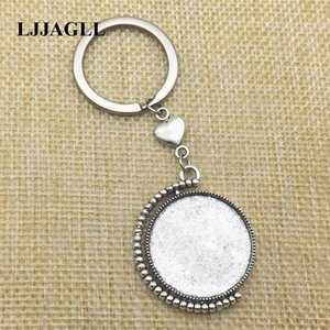Wholesale Silver Plated Love Heart Keyrings mm Rotation Cameo Base Double Side Keychain Key Ring Diy Jewelry Make Love AYSQ218