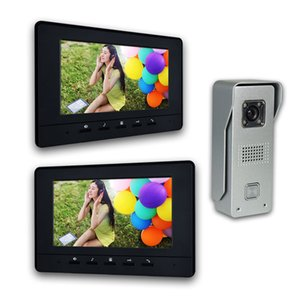Wholesale 7 Inch LCD Monitor Wired video Doorbell intercom System Video Door Phone Aluminium alloy Camera Video Intercom doorphone Kit 2-Monitor