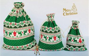 Wholesale Linen Small Christmas Bag Sacks Candy Biscuit Package Bags Red and Green Elk Pattern Gift bag