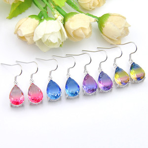 Wholesale silver jewelr resale online - Mix Color sterling silver small and exquisite Rainbow Bi Colored Tourmaline Gemstone Silver Valentine s Dangle Earrigs Jewelr
