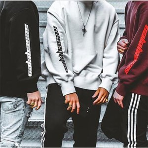 Fashion Calabasas Sweatshirts AS Worn KANYE WEST Hip Hop Casual Cotton Long Sleeve Streetwear Pullover Hoodie Black S-2XL on Sale