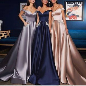 Wholesale 2019 Satin A Line Prom Dresses Long Off the Shoulder Beaded Elegant Prom Gown with Pockets Vestido Longo