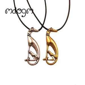 Wholesale Mdogm Greyhound Necklace Dog Animal Pendant Antique Gold Silver Plated Fashion Jewelry For Women Male N136