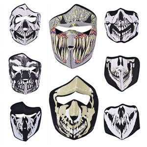 Wholesale PC Bike Cycling Ski Mask Outdoor Ghost Skull Balaclava Neck Hood Half Full Face Mask