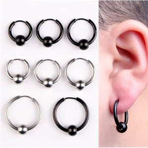 Wholesale whole saleYIXI Hoop Earrings Stainless Steel Punk Men Earrings Ball Pendant Circle Ring Earring Piercing Jewelry Christmas Gift