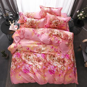 Wholesale Home Textile King Queen Twin Bedding Set Girls Kid Bed Linen pink red Flowers Duvet Quilt Cover Pillow Case Bed Sheet bedclothes