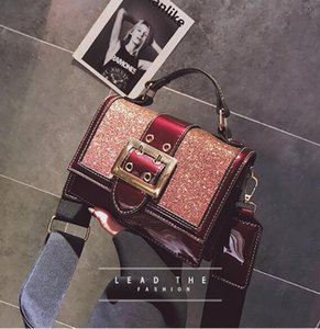 women small bling bling shoulder bag lady's mini cute solid color Glossy handbag cover opening bag cross body on Sale