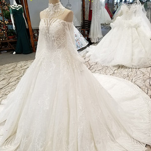 Elegant New Wedding Dress Shoulder Chain Decorate Off Shoulder Beaded Appliques High Neck Beauty Wedding Gown With Train Long Sleeve