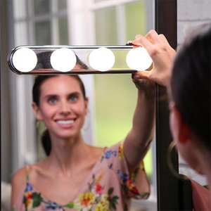 4 LED Bulbs Adsorbable Mirror Cosmetic Super Bright Light Kit Battery Powered Makeup Tool STUDIO GLOW Hot Sale 19 5xt hh