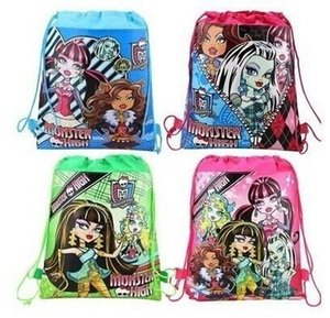 Wholesale Student New Cartoon Cute Monster High Printed Kids Students Drawstring Backpack Bag Shopping Back to School Travel Waterproof Fabric Gift Fa