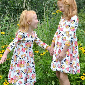 Wholesale 2018 New Baby Girls Dress Fashion Floral Princess dress Children Flowers print Dresses Kids Boutique Clothing