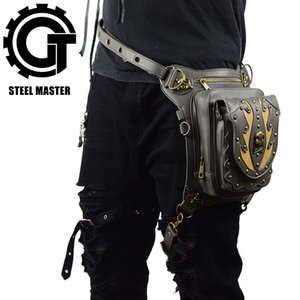 Wholesale Steampunk Skull Retro Rock Bag Men Women Waist Bags Fashion Gothic Shoulder Phone Case Holder Leather Motorcycle Messenger Bags