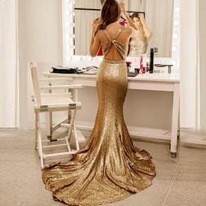 2019 Glamorous Sequins Mermaid Evening Dresses Deep V Neck Sleeveless Open Back Champagne Gold Formal Prom Dresses Sweep Train on Sale