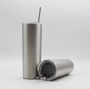 20oz Stainless Steel Cup With Straw 600ML Straight Cup Double Wall Vacuum Insulation Beer Coffee Mug Kids Travel Cups OOA5636