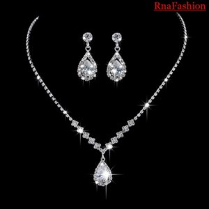 RNAFASHION Crystal Bridal Jewelry Sets Silver Color Pendant Necklace Earrings Sets Wedding African Beads Jewelry Sets