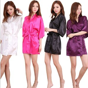 10 Styles Sexy Large Size Sexy Satin Night Robe Solid Lace Bathrobe Perfect Wedding Bride Brides Women Sleepwear AAA303