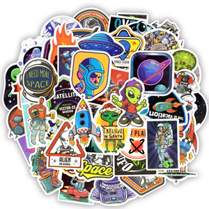 50 PCS Waterproof Universe UFO Alien ET Astronaut Stickers Toys for Kids Space Decals for Teens DIY Car Luggage Scrapbook Skateboard Bike