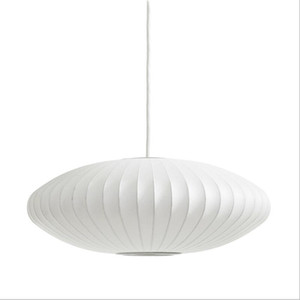 George Nelson Bubble Saucer Lamp E27 LED White Silk Pendant Light White Silk Flat Ball Pendant Lights Lamp White Silk hanging Lighting