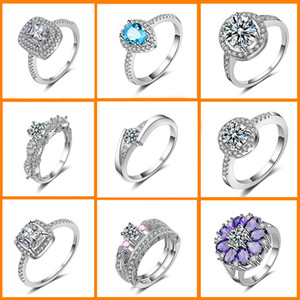 Wholesale 28 mix style lot Luxury wedding Crystal Ring 925 Sterling Silver with Platinum Plated Fashion Silver Jewellery Rings Wholesale