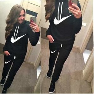 Wholesale 2018 New Arrival Women active set tracksuits Hoodies Sweatshirt Pants Running Sports set long sleeves and pants