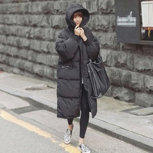 Wholesale Black Plus Size Korea Fashion Female Outwear Thick Warm Parka Oversize Fur Duck Down Winter Coat Women Retro With Hood MZ1072