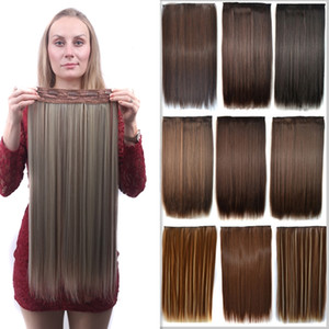 "24"" multi-colored five clips in hair pieces straight smoothy heat resistant synthetic hair extensions"