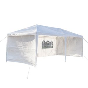 3 x 6m Six Sides Waterproof Tent with Two Doors &Spiral Tubes-Garden Canopy Tent Outdoor Patio Party,Household, Wedding, Parking Shed - Whit