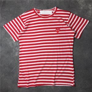 Wholesale 2018 Summer New Play CDG striped vetements Tee Cotton Short Sleeve Breathable Men Women Red love heart tshirt Casual Streetwear T shirts