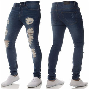 Wholesale 2018 Men Jeans Fashion Slim Hole Washed Denim Blue Pants for Male Casual Male Elaticity Skinny Streetwear Hole Trousers