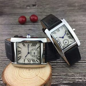 Wholesale 2018 Fashion man leather watch Square luxury male wristwatch with date day dress women steel black silver leather mens watches free shipping