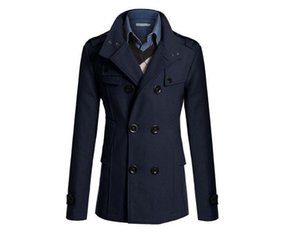 Wholesale S XXXL Navy Blue Korean Men Woolen Coat Fashion Slim Wild double breasted Coat Business Men Lapel Jacket Pocket