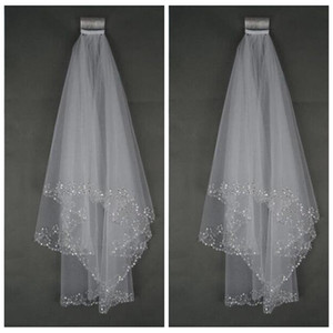 Wholesale Cheap Bling Bling Bridal Veil With Comb Beading Formal Wedding Veil White Ivory Formal Short M