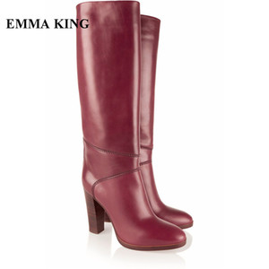 Wholesale EMMA KING New Wine Red Chunky Heels Comfortable Winter Boots Women Female Round Toe Sewing Lady Casual Dress Knee High Boots