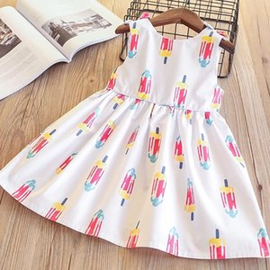 Wholesale Girls Bow Ruffles Dress Ice Cream Print Cute Baby White Color Cotton Clothes Princess Korean Fashion Spring Summer Dresses T