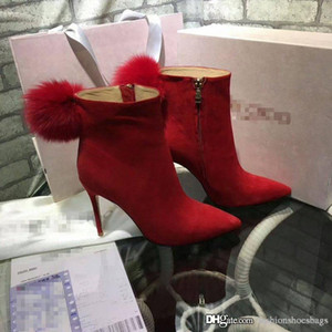 Wholesale 2017 Jimmy KC Choo JimmyChooS KC Red Women Round Toe Ankle Boots Booties Red Leather Hair Fur Leather Boots Heel height 10cm Come With Box