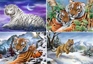Rhinestone full round diamonds embroidery animal snow tiger diy diamond painting cross stitch kit home mosaic decoration yx1571