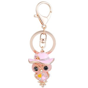 Wholesale 2019 New owl with hat crystal key chains rings for women rhinestone wallet bag pendant for car key holder keyrings ketchains