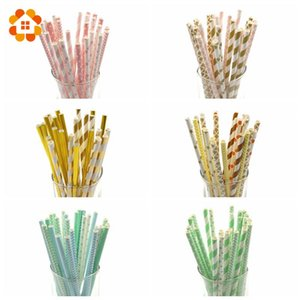 Wholesale 25PCS Multicolor Design Paper Straws For Birthday Wedding Baby Shower Decoration Party Supplies Creative Drinking Straws