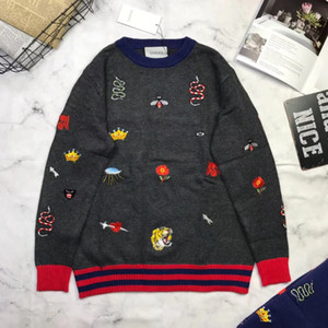 Wholesale newest Sweaters Fashion Cartoon snake bee Pattern Sueter Hombre O neck Jumpers Pullover Sweater Male Knitwear Brand Clothing