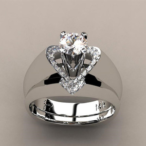 New creative heart-shaped diamond ring female European and American fashion generous engagement ring set ring wholesale