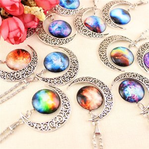 Wholesale Fashion Rare Vintage Silver Starry Sky Round Moon Pendant Necklace Outer Space Universe Necklaces Jewelry