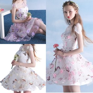 Wholesale Colorful D Flower Short Prom Dresses Butterfly Printed Cap Sleeve Transparent Neck Girls Mini Homecoming Party Dress Pageant Gowns