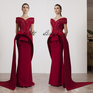 Azzi&Osta Fashion burgundy Evening Gowns Beading Appliques Off Shoulder Mermaid Prom Dresses Le Vert Galant Glamorous Satin Evening Dresses on Sale