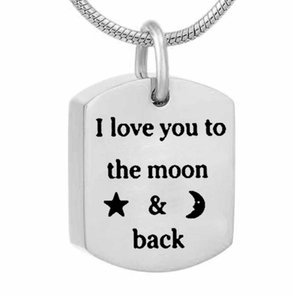 Wholesale square jewelry back for sale - Group buy Eternally Loved I Love You to the Moon and Back Cremation Square tag Urn Necklace for Ashes Keepsake Stainless Steel Cremation Jewelry