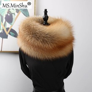 Wholesale MS MinShu Luxury Genuine Fur Scarf Real Skin Scarf Big Size Natural Fur Shawl Winter Women Stole Drop shipping