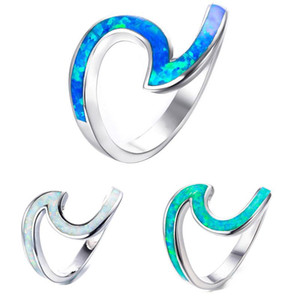 Wholesale Unique Green White Blue Fire Opal Wave Ring Filled Wedding Rings Ocean Blue Opal Wave finger ring For Women