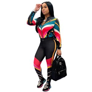 Wholesale New Fashion Piece Set Women Color Striped Printed Women Set Plus Size Coat And Skinny Pants Streetwear S M L XL XXL XXXL