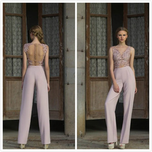 Wholesale Modern Ladies Pantsuits See Through Illusion Long Evening Gown 2018 New Design Party Cocktail Dresses Sheer Back Prom Dress Cheap