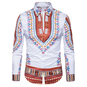 Wholesale Traditional African Dashiki Shirt Men D Print Men Shirt Long Sleeve Slim Fit Male Shirts Casual Coon Mens Dress Shirts