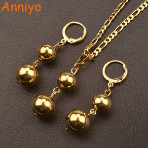 Anniyo Gold Color Bead Jewelry sets Round Pendant Necklaces Ball Earrings for Women Arab African Ethiopian Jewelry Gift #106406